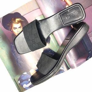 Gucci Monogram Canvas Wooden Slide Sandals